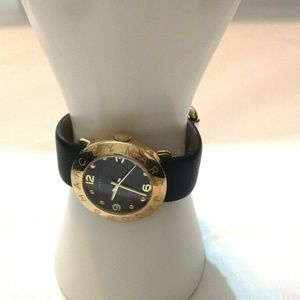 "Marc Jacobs ""Amy"" Black/Gold Leather Watch"